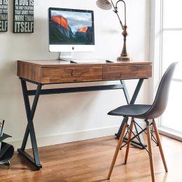BX-1200-Acacia  Desk w/ 2-Drawer