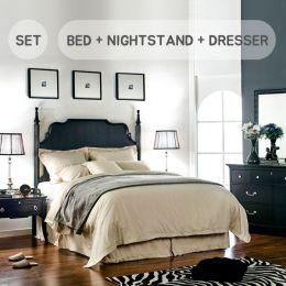 (0)Mandy-K-Set King Panel Bed  (침대+협탁+화장대+거울)