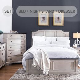Avalon Cove-QN-Set  Queen Panel Bed  (침대+협탁+화장대+거울)