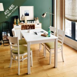 Cabin-4C-White  Dining Set (1 Table + 4 Chairs)