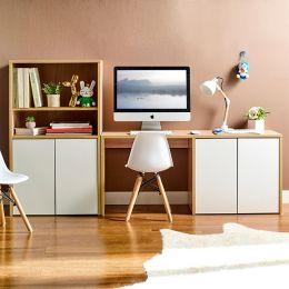 MIT-OAK-White-DB  Kids Desk & Bookcase