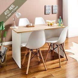 Bijou-4C-Oak-Wh-4BB-W  Dining Set  (1 Table + 4 Chairs)