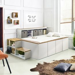 Winston-Wht-Oak  Storage Bed w/ Steps