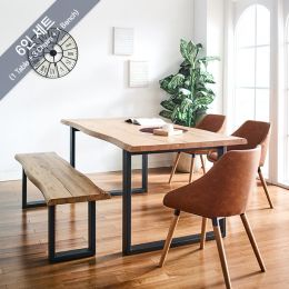 Holly-Bay Wooden Slab Dining Set(1 Table + 3 Chairs + 1 Bench)