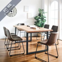 Holly-Org-Brown-6C Wooden Slab Dining Set(1 Table + 6 Chairs)