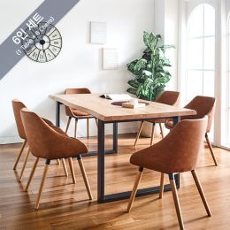 Holly-Bay-6C Wooden Slab Dining Set(1 Table + 6 Chairs)