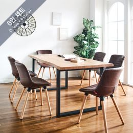 Holly-M-Brown-6C Wooden Slab Dining Set(1 Table + 6 Chairs)