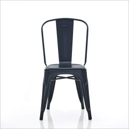 818C-Matt Black Metal Chair