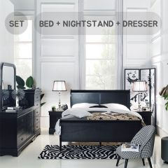 Louis-Black-Q-Set  Queen Panel Bed  (침대+협탁+화장대+거울)