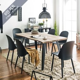 DT1417-Black-6C Wooden Slab Dining Set(1 Table + 6 Chairs)