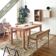 Roomy-4-Natural  Dining Set (1 Table + 2 Chairs + 1 Bench)