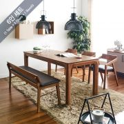 Roomy-6-Walnut  Dining Set (1 Table + 3 Chairs + 1 Bench)