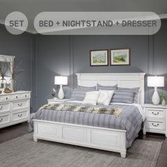 B4056-64  King Panel Bed (침대+협탁+화장대+거울)