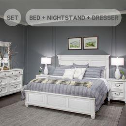 B4056-064  King Panel Bed (침대+협탁+화장대+거울)