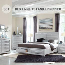 C8101A-Q-Set Panel Bed w/ Storage (침대+협탁+화장대+거울)