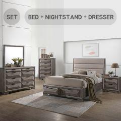 Carter  Queen Panel Bed w/ Storage  (침대+협탁+화장대+거울)