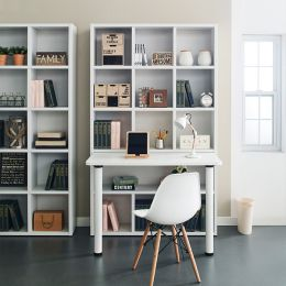 Pascal-White-S  Desk w/ Bookcase  (23t Top)