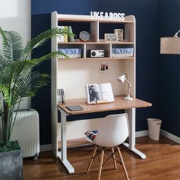 Leaders-30-Oak  Desk w/ Bookcase  (23t Top)