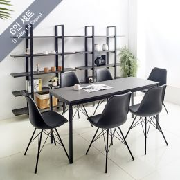 iK-16B-Blk-Liva-6 Dining Set(1 Table + 6 Chairs)