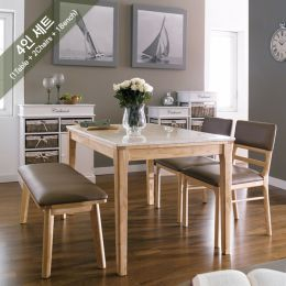 Kimberly-4-Marble  Dining Set (1 Table + 2 Benches)
