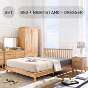 NB-Natural-Q Bed Set  Queen Bed  (침대+협탁+화장대+거울)