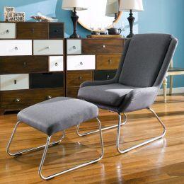 Kerstin-Grey  Resting Chair w/ Stool