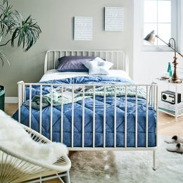 H9349-White-1100  Super Single Metal Bed