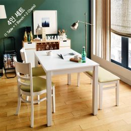 Cabin-4-White  Dining Set (1 Table + 2 Chairs + 1 Bench)