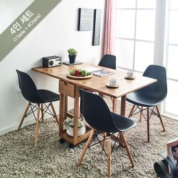 Penny-Natural-4 Folding Dining Set (1 Table + 4 Chairs)