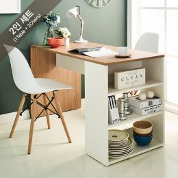 Clare-Oak-2BB-W Dining Set  (2인용)  (1 Table + 2 Chairs)
