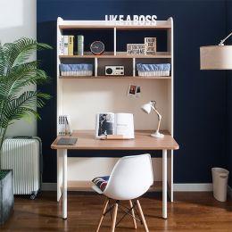 Leaders-10-Oak  Desk w/ Bookcase  (23t Top)